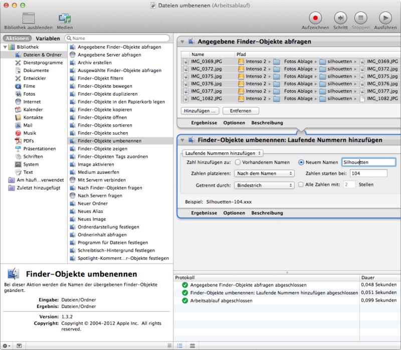 Mit Automator schnell Dateien umbenennen