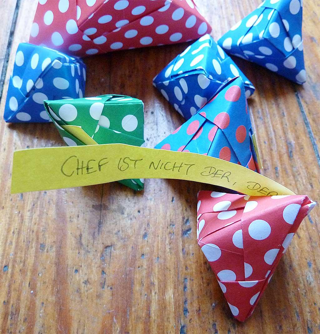 Origami Glückskekse mit Spruch