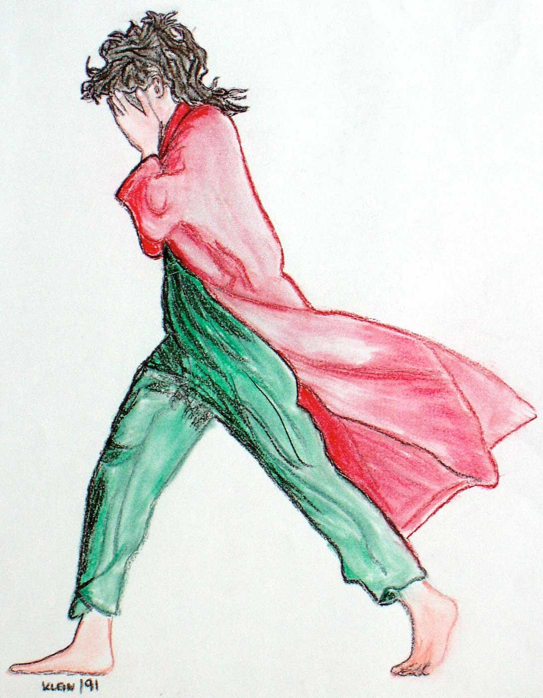 Frau im roten Mantel