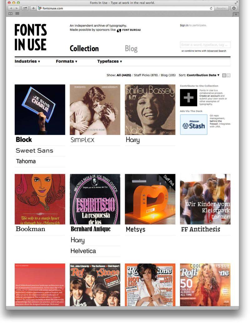 Screenshot von fontsinuse.com
