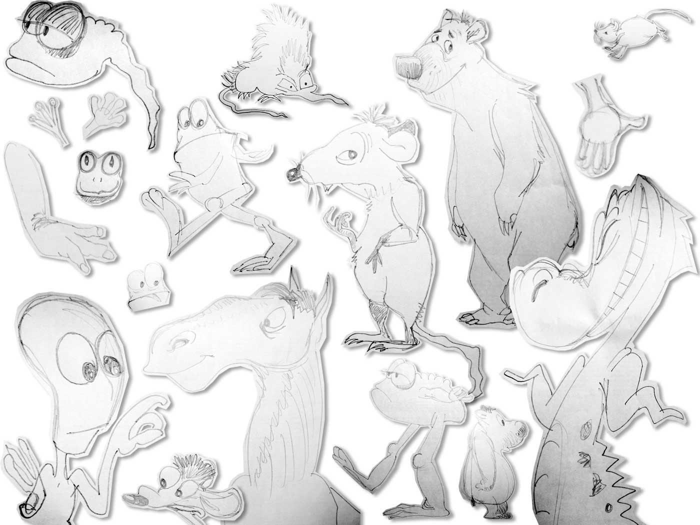 Collage aus schnellen Zeichnungen